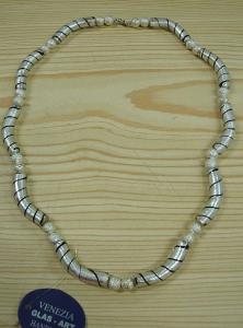 Glaskette 10 Stab Silber-Schwarz Modeschmuck
