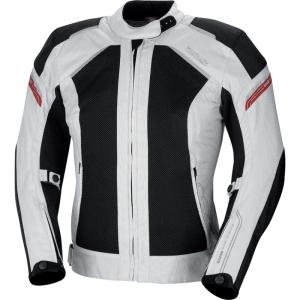 IXS Zephyra Sommer-Motorradjacke für Damen (Größe: Damen 2XL grau-schwarz-rot)