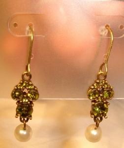 Ohrringe Strass grün mit Perle zum Einhängen