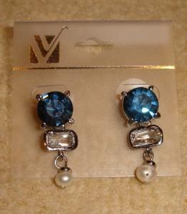 Ohrringe/Stecker blau mit Perle Modeschmuck