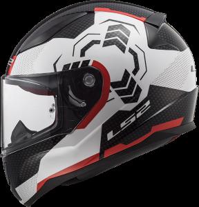 LS2 Helm Rapid Ghost FF353 white-black-red (Größe: XS)