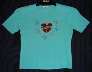 T-Shirt türkis mit Pailettenstickerei (Bitte wählen: L)
