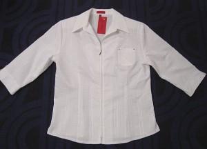 Damen Bluse mit Zip-weiss2 (Größe: XL)