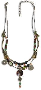 Halskette braun und Grüntöne Modeschmuck