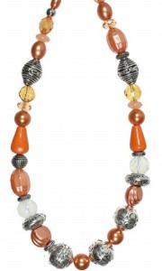 Halskette orange-rost Töne Modeschmuck