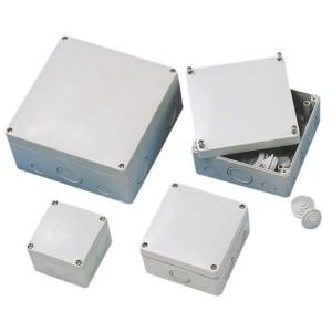 AP/FR-Kasten 110x110x67 gr IP 65 vorgeprägte Einführungen