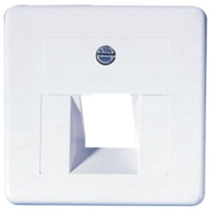 Abdeckung Modular-Anschlußdose 50x50, 1-fach, weiss, m.Rahmen