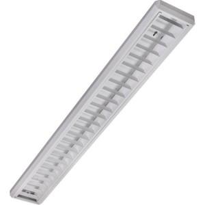 Anbauleuchte 1x58W, IP20, VVG weißes Stahlblech-Raster ARW