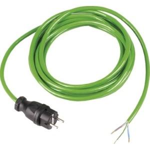 Anschl.Ltg.BQ-F 3G1,5, 3m grün 1.Seite Vollgummistecker sw