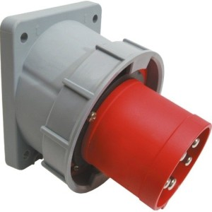 CEE-AGSt. 125A,5p.6h,400V,IP67 rot, schräg, SIROX