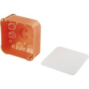 HW-Dose, 107x107x47mm, orange rechteckig, mit Deckel