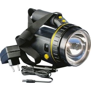 Halogen-LED-Akku-Handscheinw. mit Netzteil u. KFZ-Adapter u.