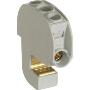 Isol.-Bügelklemme bis 16mm², für Sammelschiene 12x5mm, grau