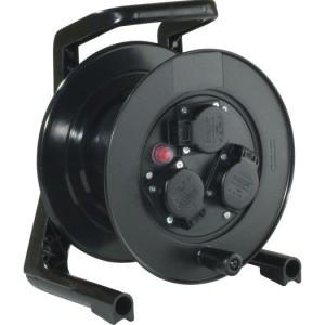 JumboXS-Leertrommel schwarz m.3 schwarze Schuko-Steckdosen