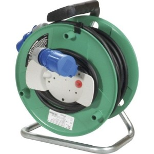 Kunstst.-CEE-Kabeltrommel grün 25m H07RN-F 3G2,5qmm schwarz