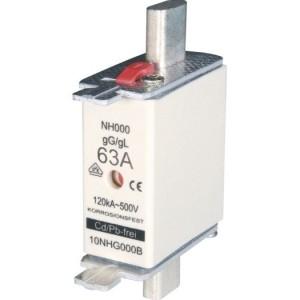 NH-Sicherung, C00, 63A, 500V gL-gG mit Stirnkennmelder
