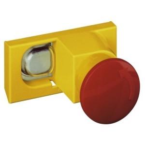 NOT-Aus-Schlagtaste, rastend, rot, auf gelber Fläche, für