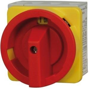 Not-Aus-Schalter rot/gelb 63A trennend, 4-polig, Fronteinbau