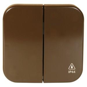 OPUS-KANTO IP44-Set, braun mit Serien-Wippe für Schalter