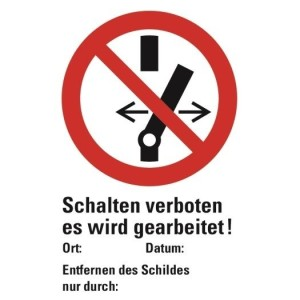 PVC-Schild, weiß, 300x200mm Nicht schalten es wird gearb.!