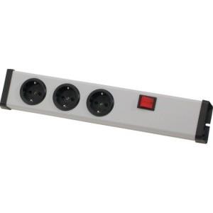 Schutzkontakt-Steckdosenleiste 3-fach, mit 2-pol. Schalter