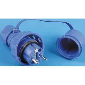 Schutzkontakt-Stecker IP68 druckwasserdicht, blau