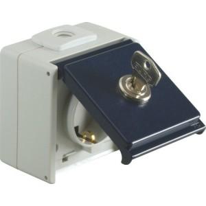 Schutzkontaktsteckdose, 1-fach IP54, stahlblau, mit Schloss