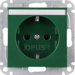 Schutzkontaktsteckdose mit Beschriftungsfeld, grün
