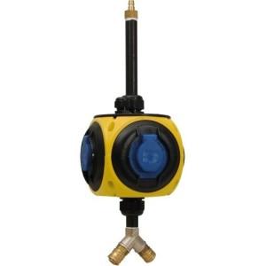 Sirox-Hängeverteiler, gelb/sw 3xSchuko, 1xCEE 16A, 5-pol.