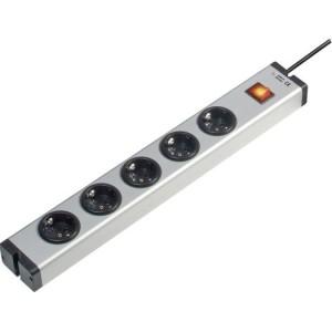 Steckdosenleiste 4-fach Alu ohne Schalter