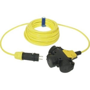 Verl. H07BQ-F 3G2,5 10m gelb VG-3-f.Kupplung + VG-Stecker