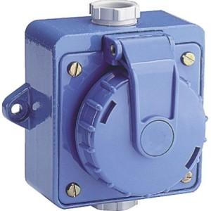 Wandsteckdose Druckwasserdicht blau, 2-pol, 16A, 250V, IP68