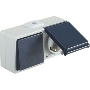 Wechselschalter/Steckdosen - Kombination IP54, waagerecht