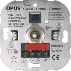 elektron. Serien-Schalt-Dimmer mit Thermoschutz, 20-500VA