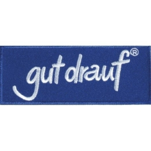 gut drauf-Aufnäher, 10 x 4 cm reflexblau mit gut drauf-Logo