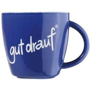 gut drauf-Tasse, Porzellan blau, 8,3cm hoch