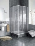 Kermi Nova 2000 Halbteil Eckeinstieg Gleittür 2teilig Kunstglas Höhe 1850mm
