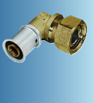 Multitubo Metall-Press-Winkel-Verschraubung 90° mit Überwurfmutter (Variante: 16mmx1/2)