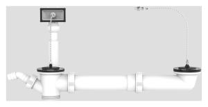 SANIT Ab-u.Überlaufgarnitur, beidseitig mit Stopfen u. Kette,1 1/2 x max. 440mm
