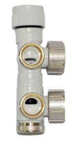 MERT Mittelanschlussblock mit Ventil Eckform (Variante: Ventil rechts)