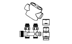 Purmo Anschlußgarnitur für Mittelanschluß Durchgang (Ausführung:: weiß RAL9016)
