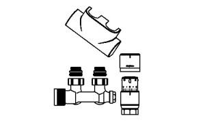 Purmo Anschlußgarnitur für Mittelanschluß Eck (Ausführung:: weiß RAL9016)