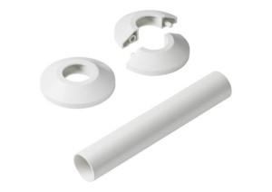 Danfoss Wandrosetten und Überschiebrohr für Einzelanschluss (Variante: weiß)