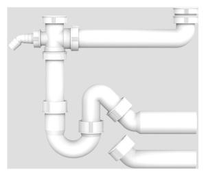 SANIT Ablaufverbindung G1 1/2x40/50x295 mit Universal Rohrgeruchverschluss