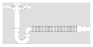 SANIT Rohrgeruchverschluss G1 1/2x40/50 flexibel Schlauch und 2x Geräteanschluss