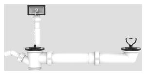 SANIT Ab-u.Überlaufgarnitur,beidseitig mit Bügel und Stopfen, 1 1/2 x max. 440 mm