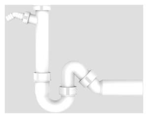 Sanit Universal-Röhrengeruchverschluss mit Geräteanschluss (Variante: 11/2xAbgang 40)