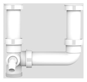 SANIT Ablaufverbindung G1 1/2 exzentrisch mit 2x Anschlussrohr