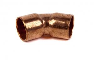 CU Bogen 45° 5041 beiderseits mit Innenlötende (Abmessung: d=15mm)