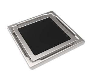 MERT Bodenablauf Flach mit Glasabdeckung schwarz